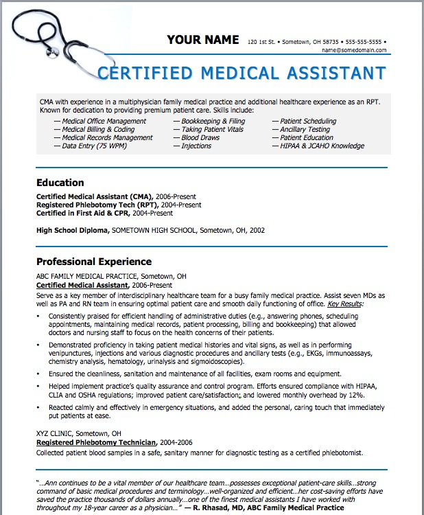 certified medical assistant resume templates - Yelommyphonecompany