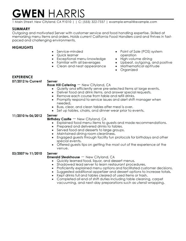 sample resume for 19 year old food and beverage