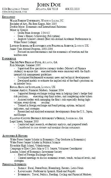 gpa in resume examples