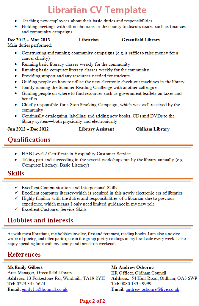 library resume examples