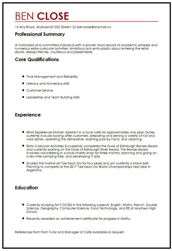 Cv Template Teenager - Resume Examples