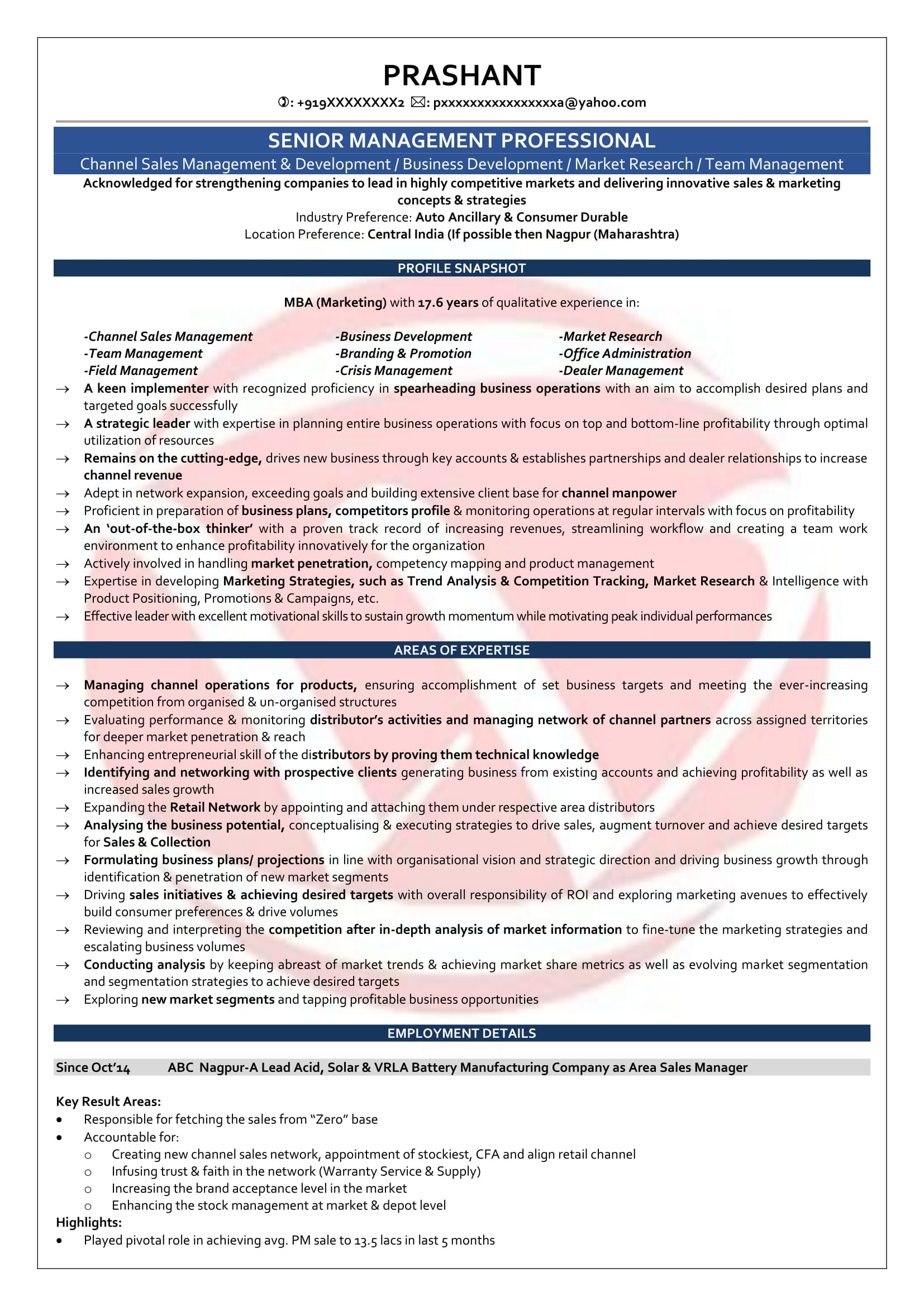 resume format for 5 year experienced it professionals