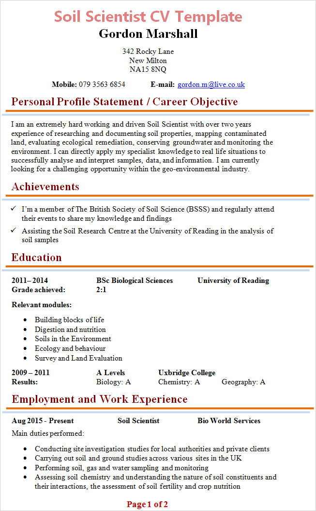 template cv scientific