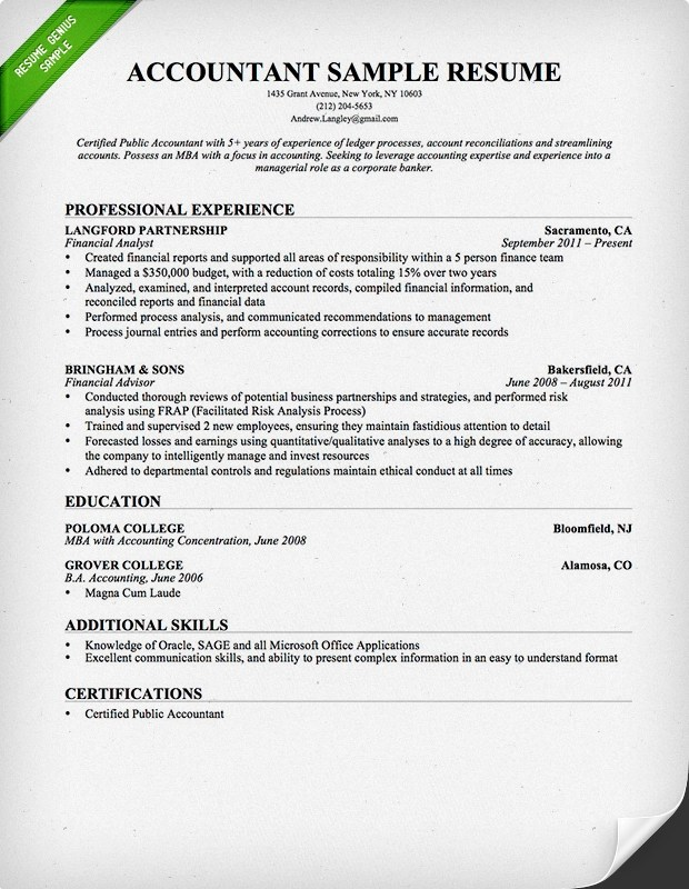 Accountant Resume Sample and Tips Resume Genius - Cpa Resume Examples
