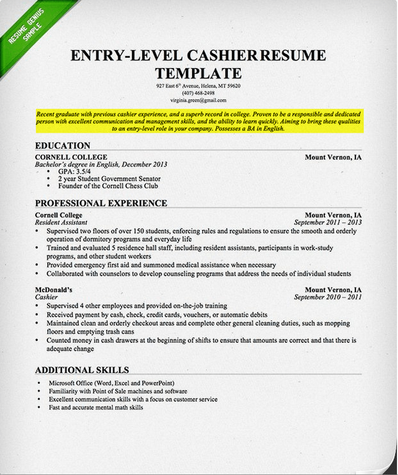 resume objective statement college student