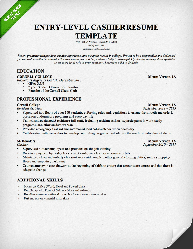 Cashier Resume Sample  Writing Guide Resume Genius - Entry Level Resumes Templates