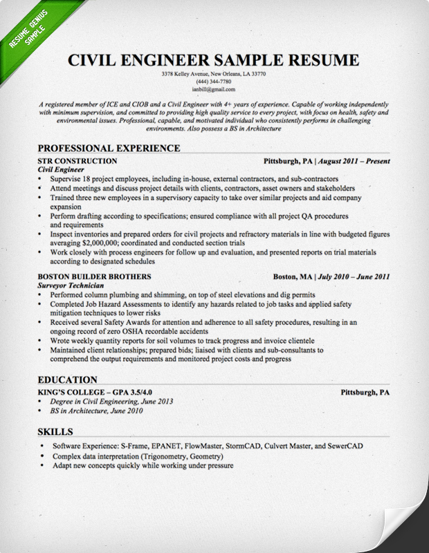 Civil Engineering Resume Sample Resume Genius - Site Engineer Sample Resume