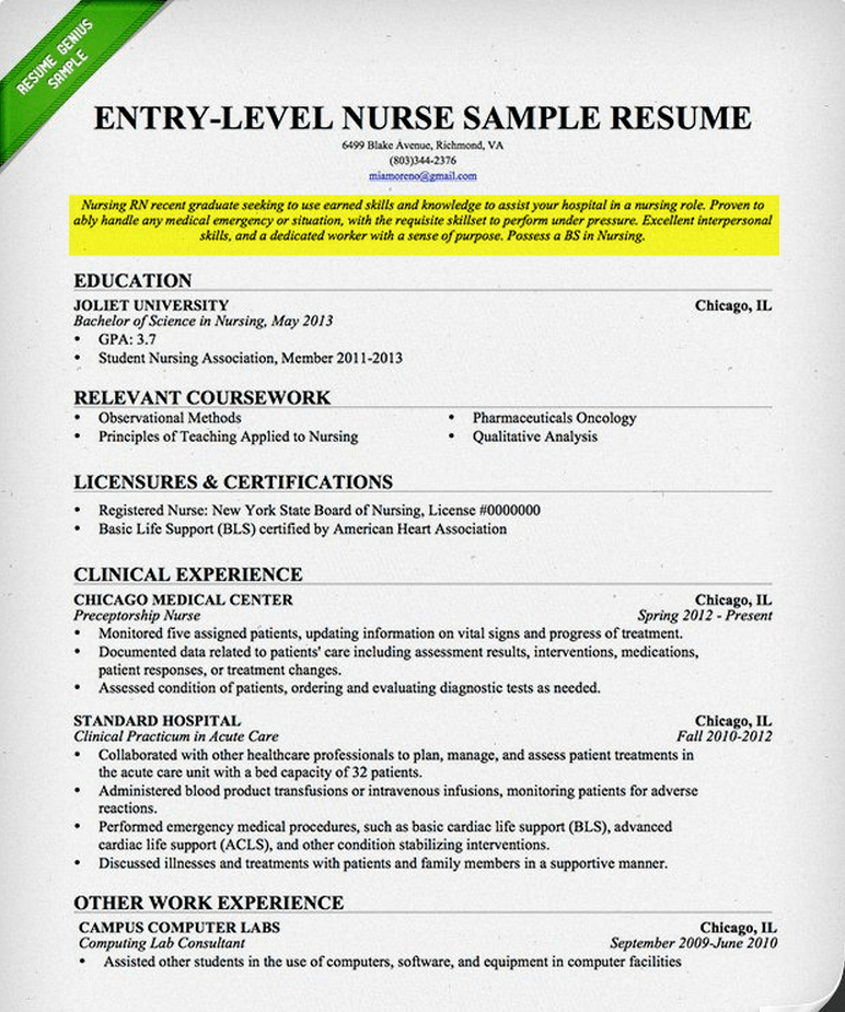 Example of nursing student resume