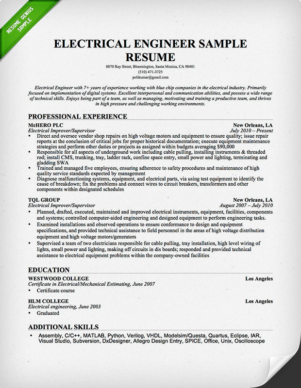 Electrical Engineer Resume Sample Resume Genius - Additional Skills Resume Examples