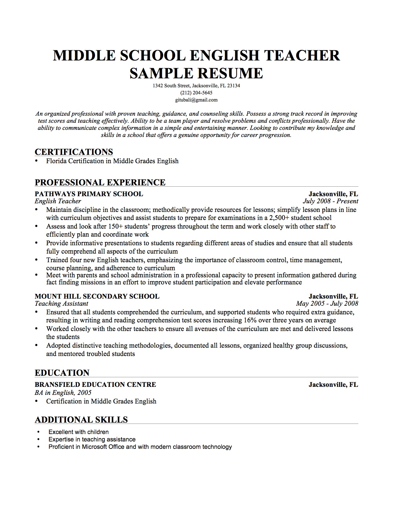 Professional Teacher Resume Template Resume Template For Teaching
