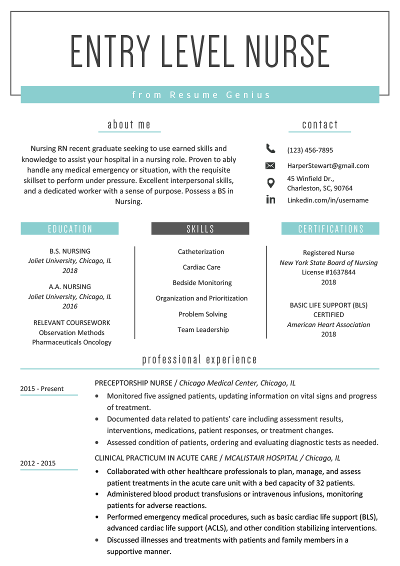 nursing resume one year experience