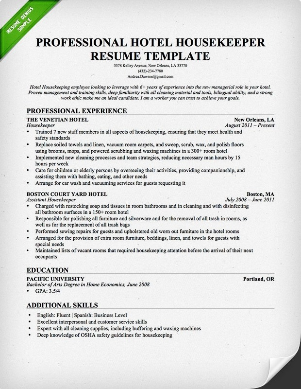 Housekeeping  Cleaning Resume Sample Resume Genius - hotel resume