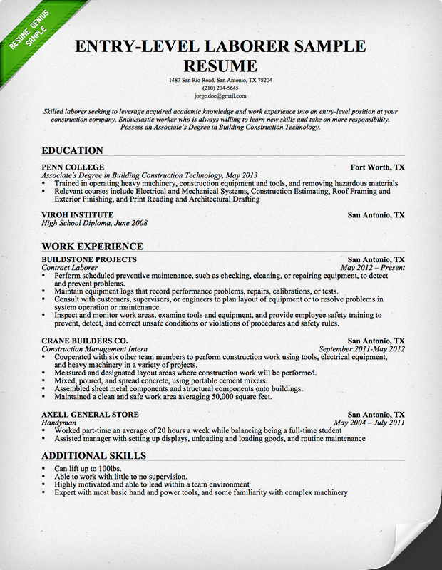 Entry-Level Construction Resume Sample Resume Genius - Sample Resume For Entry Level