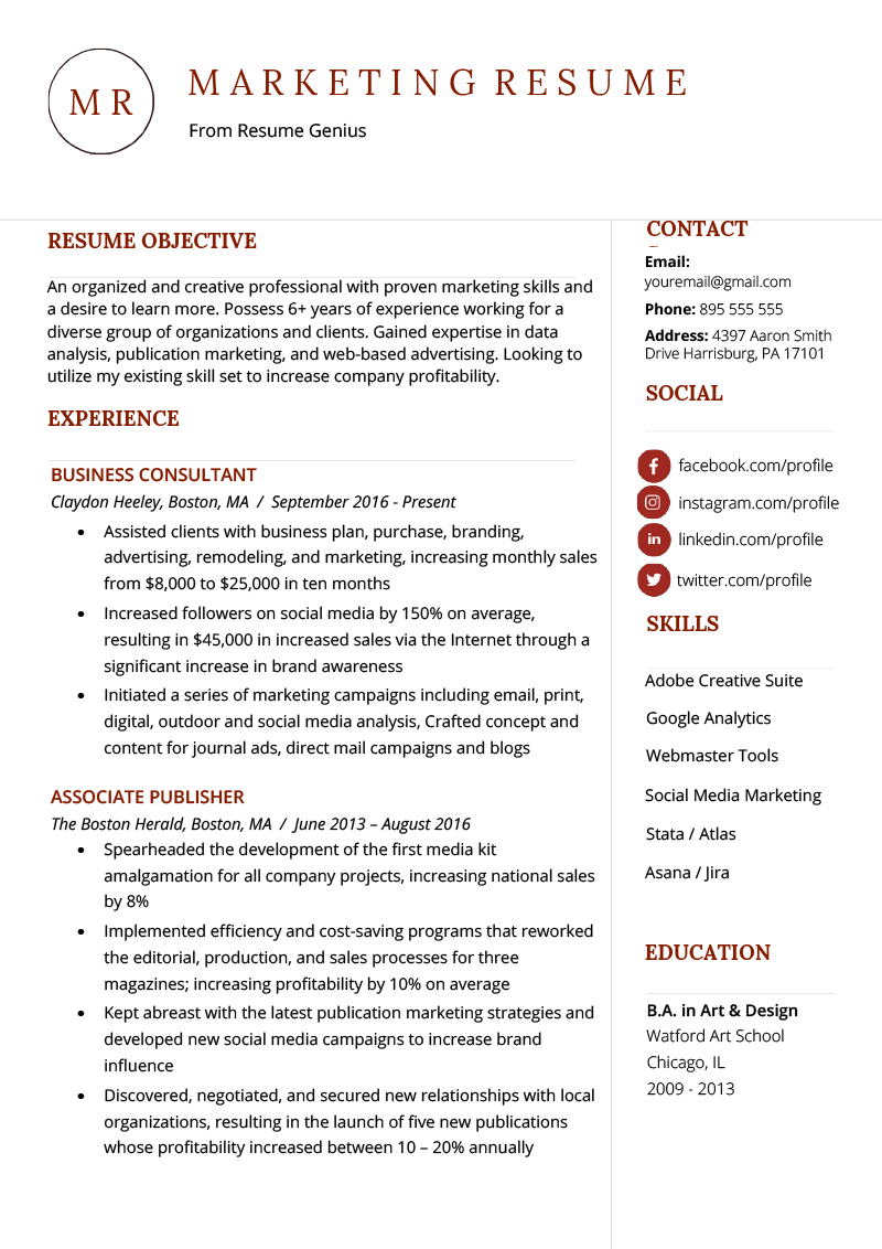 skills marketing cv
