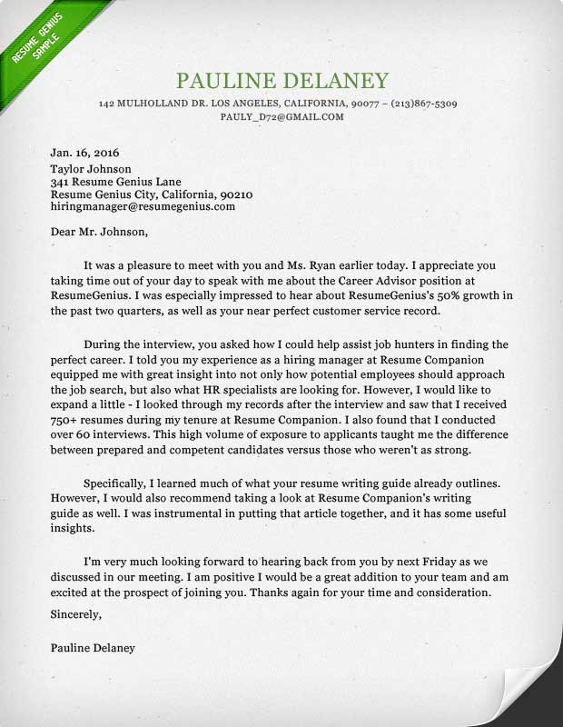 Thank You Letter Template, Sample, and Writing Guide Resume Genius - follow up letter after resume