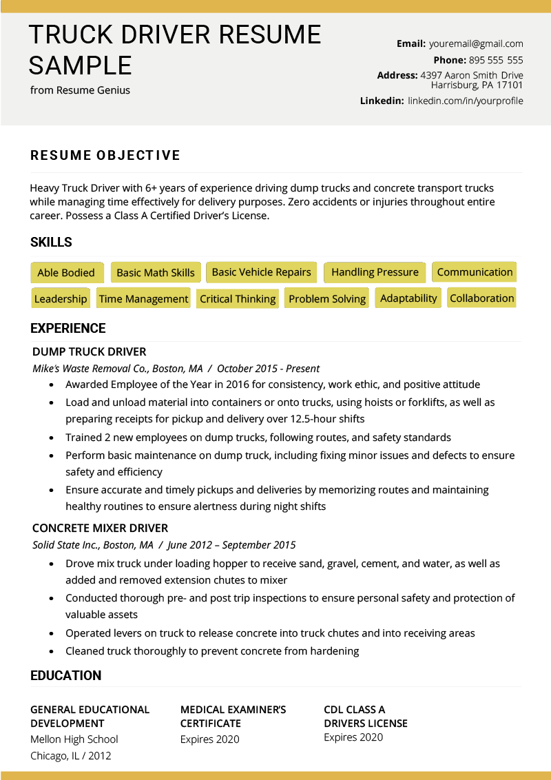 free sample cdl driver resume