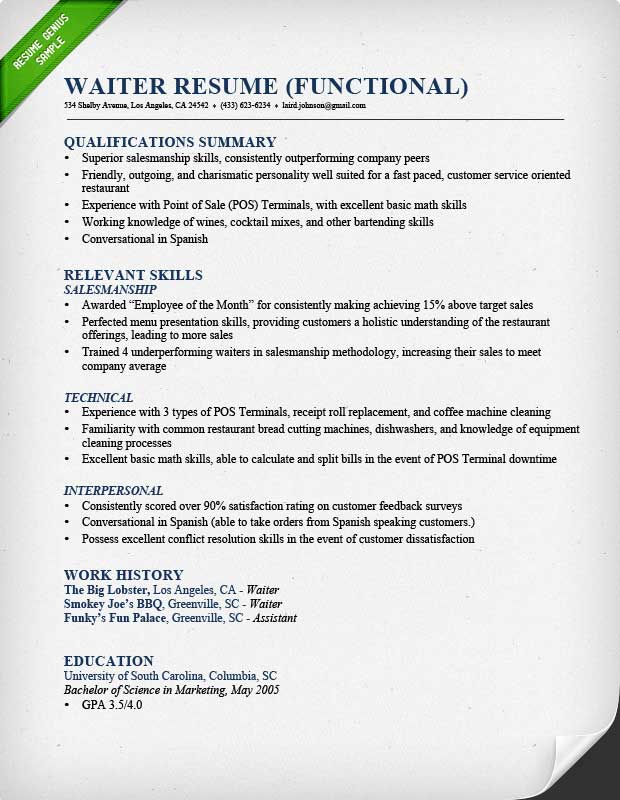 Food Service (Waitress  Waiter) Resume Samples  Tips - Resume Template Waitress