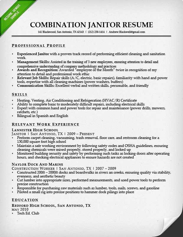 Professional Janitor Resume Sample Resume Genius - air conditioning mechanic sample resume