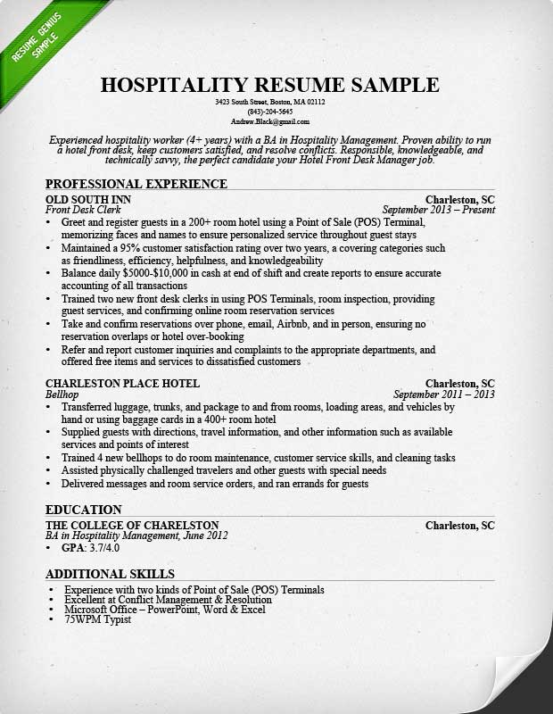 Hospitality Resume Sample  Writing Guide Resume Genius - management sample resume