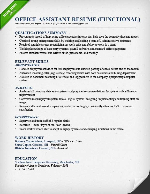 Functional Resume Samples  Writing Guide RG - Sample Professional Summary Resume