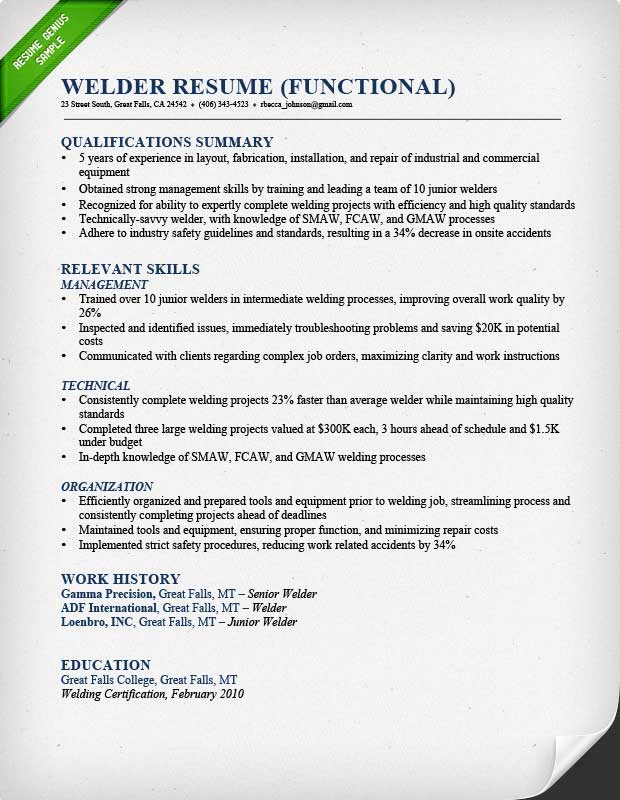 Construction Worker Resume Example - Examples of Resumes - resume functional summary examples