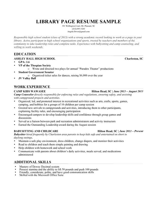 Example Resume Education Resume Education Major Minor - examples of resumes for high school students