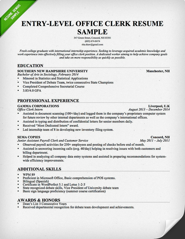 Entry-Level Office Clerk Resume Sample Resume Genius - entry level sample resume