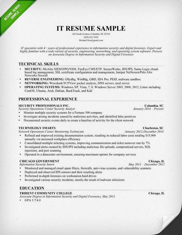Information Technology (IT) Resume Sample Resume Genius - sample technical resume