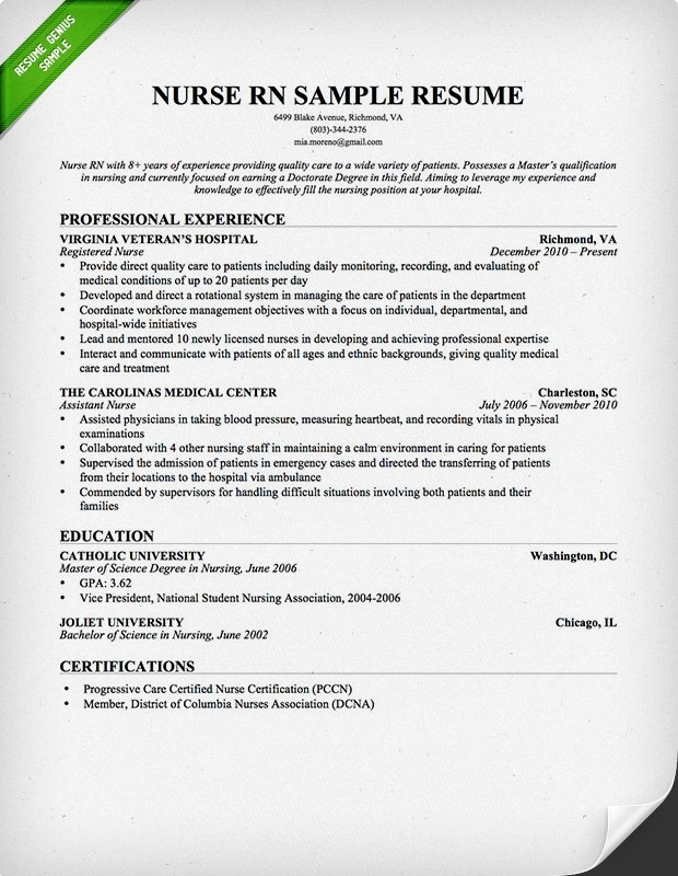 Nursing Resume Sample  Writing Guide Resume Genius - resume examples for nursing