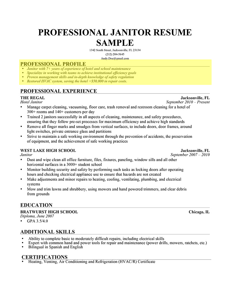 resume resume template janitor resume description janitorial resume ...