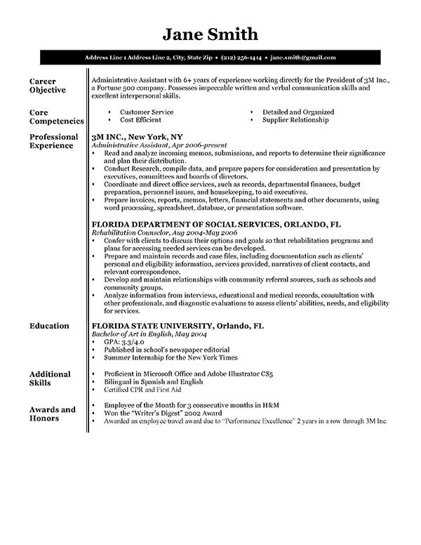 resume templates resume samples - Canasbergdorfbib
