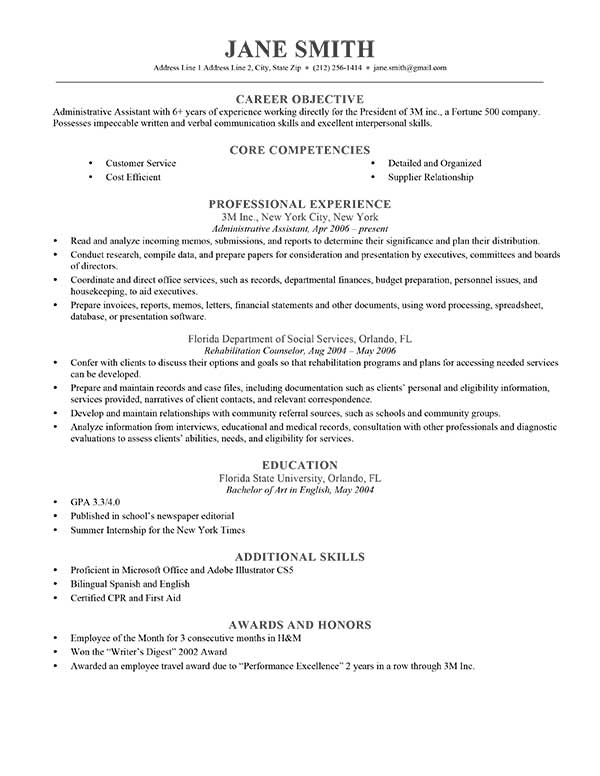 cv career objective sample - Canasbergdorfbib