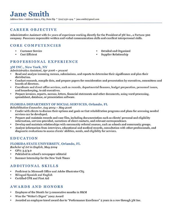 Sample Resume Business Administration Resume Samples Sample Resumes