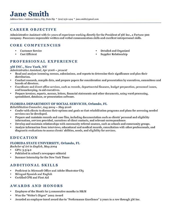 resume sample with objective - Onwebioinnovate - show resume format