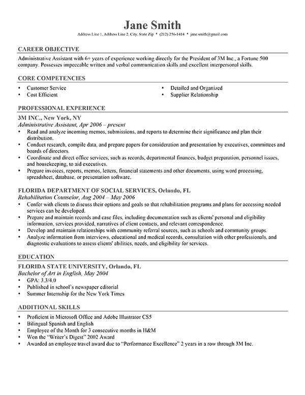examples of objective on a resumes - Towerssconstruction