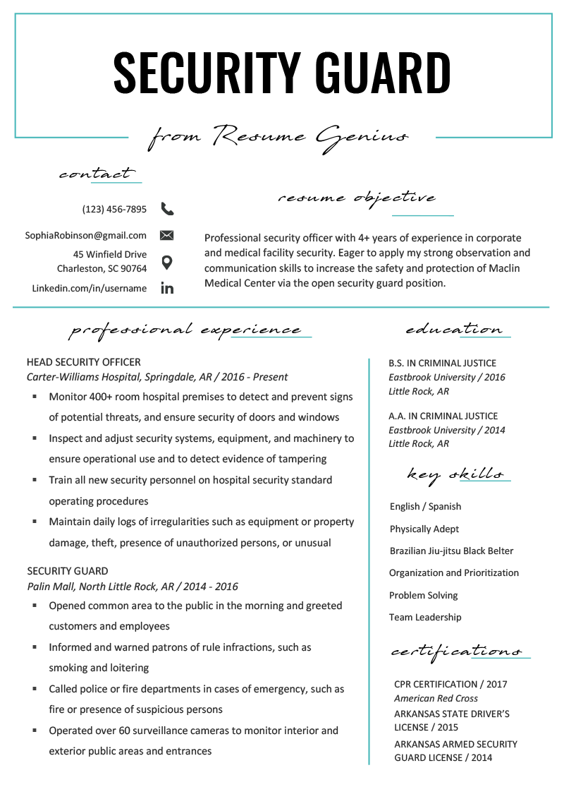 free sample of security guard resume
