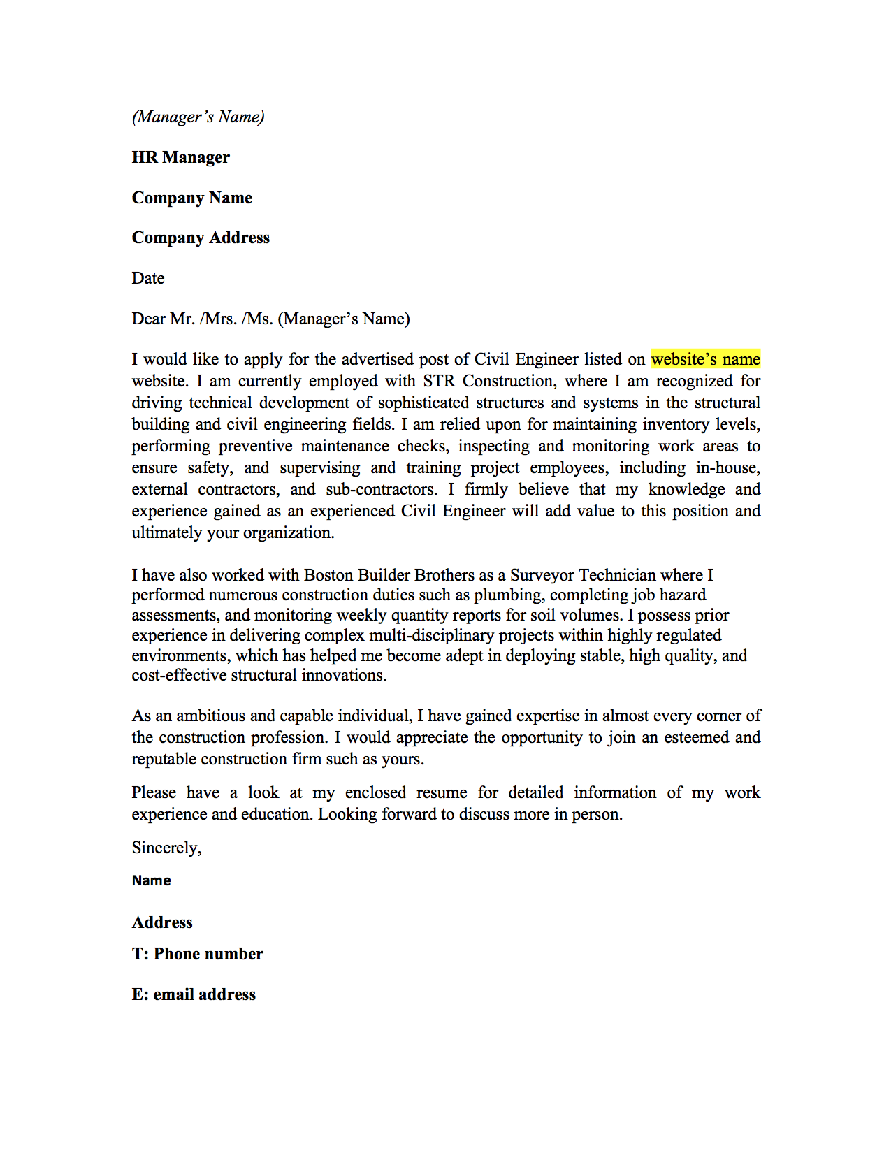 McKinsey Cover Letter Sample Cover Letter Templates