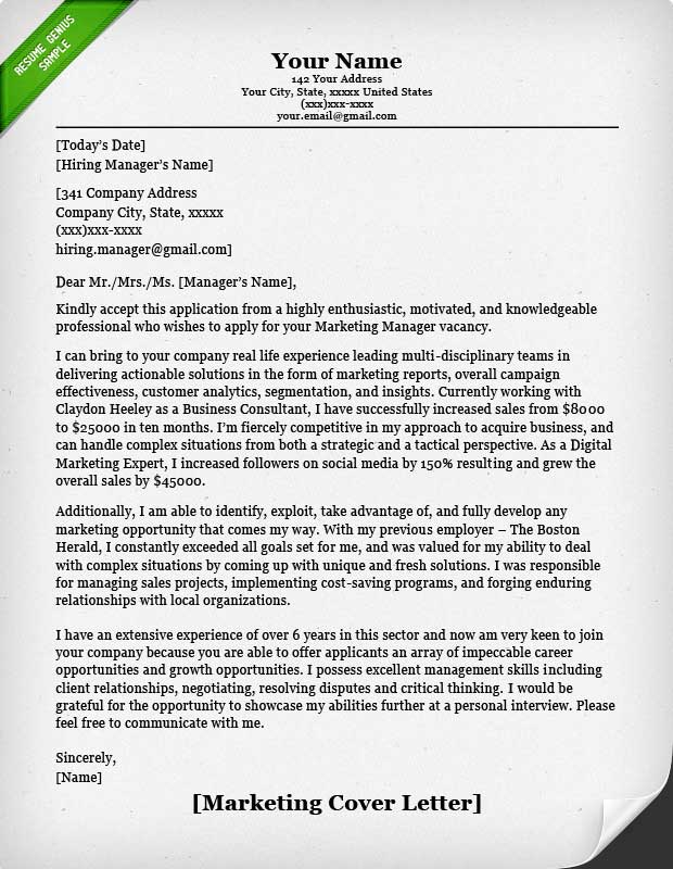 marketing consultant resume cover letter examples