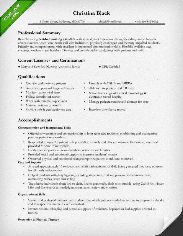 Nursing Resume Sample \ Writing Guide Resume Genius - certified nursing assistant resume