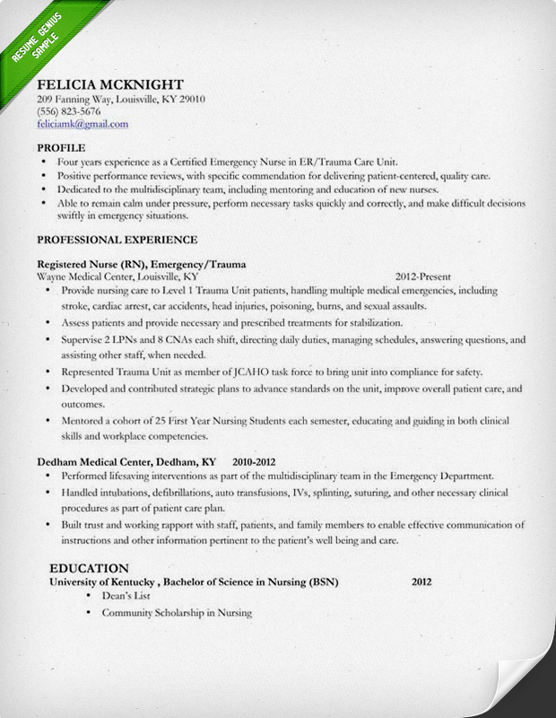 Nursing Resume Sample  Writing Guide Resume Genius - sample of rn resume