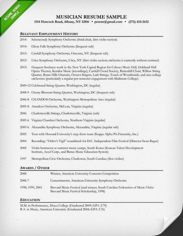 Music Resume Sample Resume Genius - Sample Music Resume