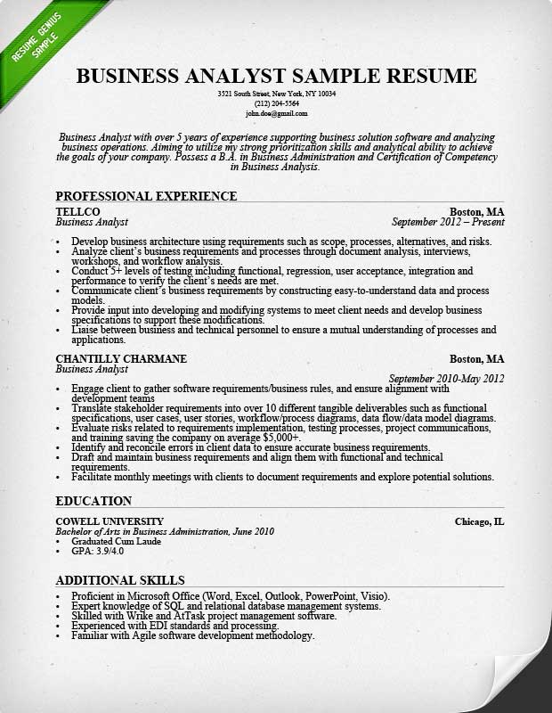 Business Analyst Resume Sample  Writing Guide RG - sample resume samples