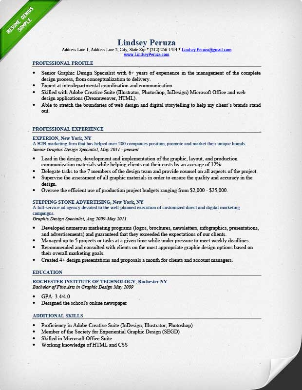 Graphic Design Resume Sample  Writing Guide RG - Designer Resume Samples