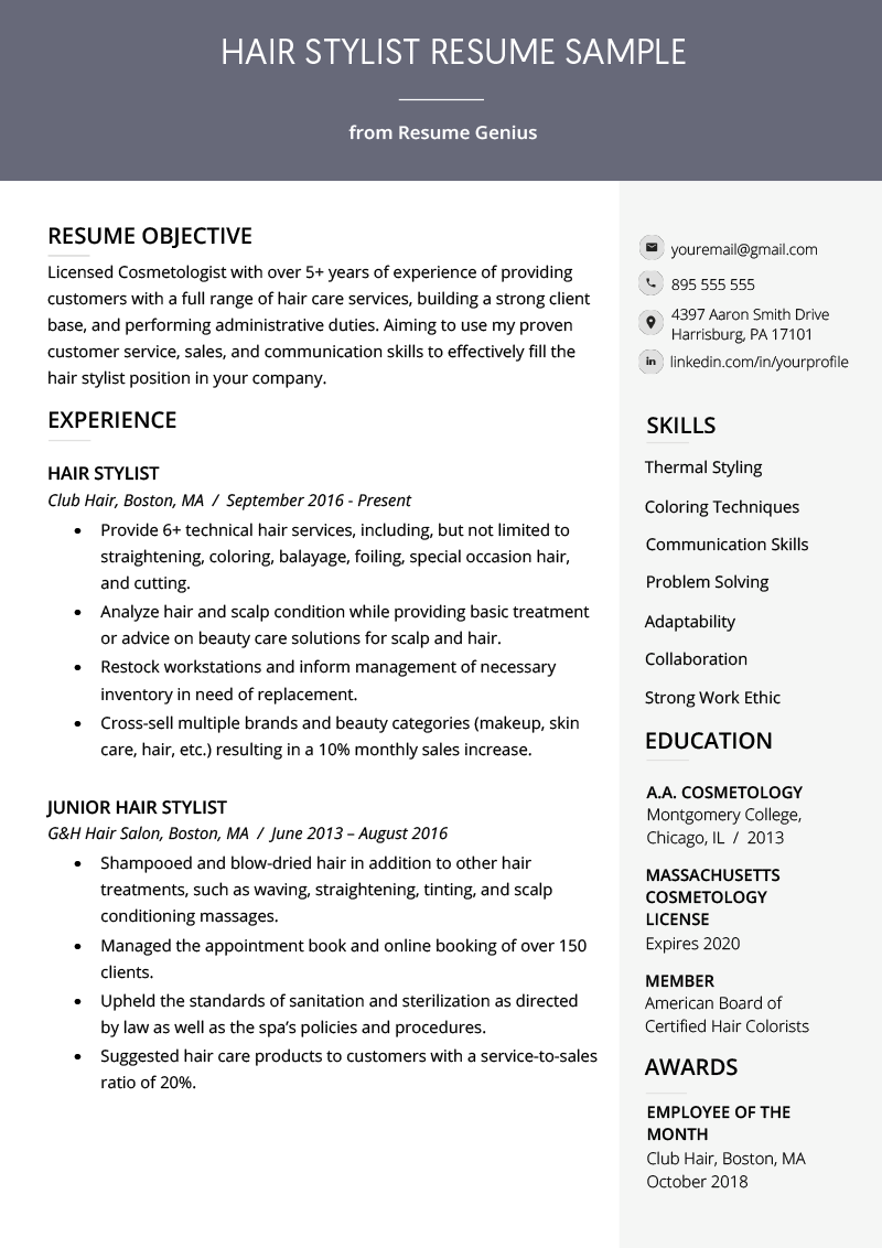 example hairdresser resume