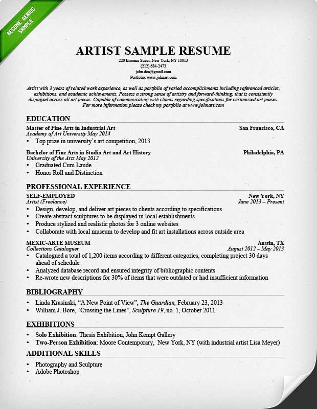 Artist Resume Sample \ Writing Guide Resume Genius - sample resume format for freshers