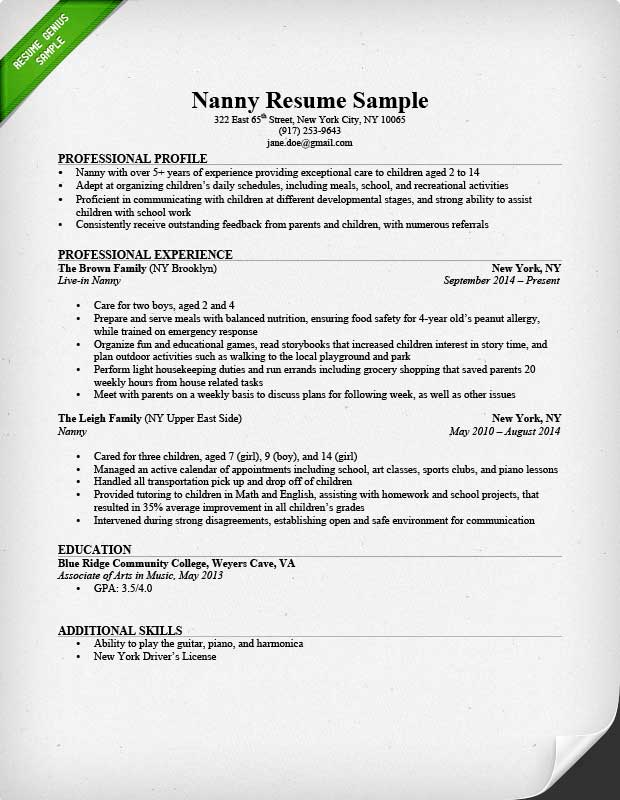 Nanny Resume Sample  Writing Guide Resume Genius - Free Sample Of A Resume