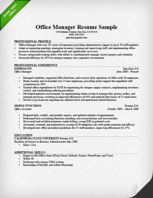 Office Manager Resume Sample  Tips Resume Genius - Microsoft Office Resume Template
