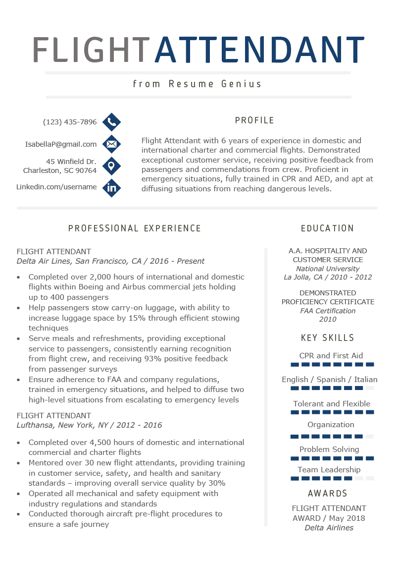 flight attendant cv template