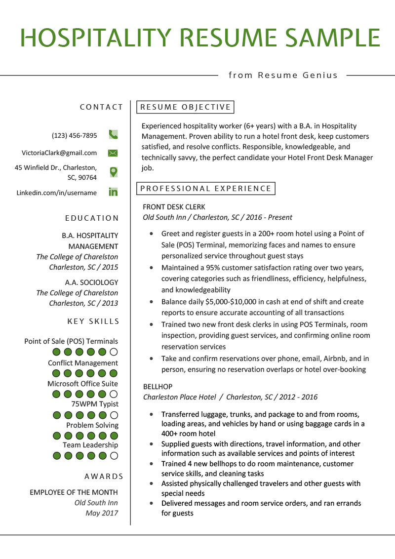 sample resume format for hotel industry