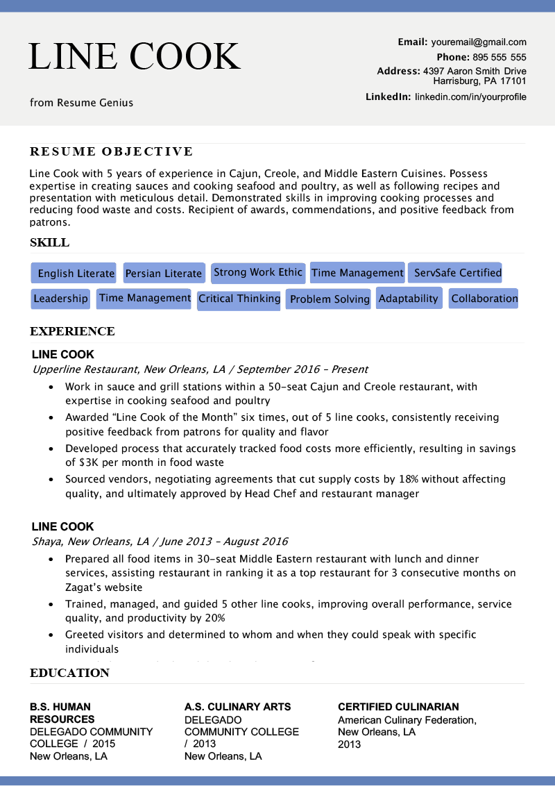 experienced kitchen staff resume sample